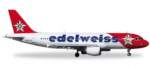 Edelweiss Air Airbus A320 Edelweiss Registration HB-IHZ Herpa 557146 Scale 1:200