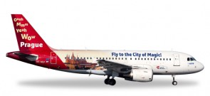 CSA Czech Airline Airbus A319  Prague City of Magic Reg# OK-NEP Herpa Wings 558075 Scale 1:200