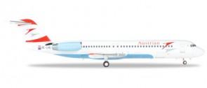 """Austrian Airlines Fokker F-100 """"Goodbye Fokker"""" - OE-LVE """"Zagreb"""" Herpa 559027 Scale 1:200"""