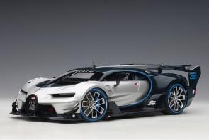Silver-Blue Bugatti Vision Gran Turismo Argent Silver/Blue Carbon Black AUTOart 70987 scale 1:18