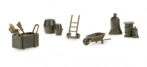 Military accessories 144 parts wheelbarrow sacks bags dolly barrel shovels 745840 Herpa diorama accessories scale HO 1:87
