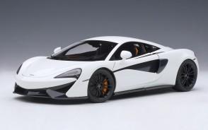 White McLaren 570S with black wheels AUTOart Model 76041 die-cast scale 1:18