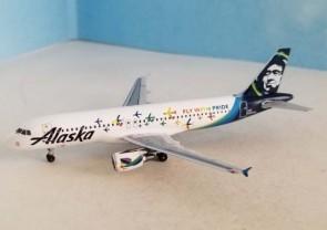 "Alaska Airlines Airbus A320 ""Pride"" N854VA AeroClassics AC419975 scale 1:400"