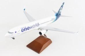 Alaska One World Boeing 737-900 scimitars N487AS with wood stand & Gears Skymarks Supreme SKR8286 scale 1:100