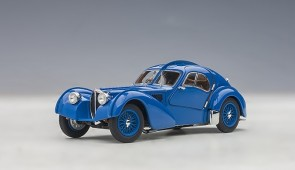 Blue Bugatti Atlantic Type 57SC 1938 Blue with Metal Wire-Spoke Wheels AUTOart 50947 scale 1:43