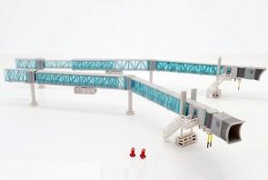 Blue glass Airport Passenger Bridge for Boeing 737 JCWings LH2ARBRDG282 scale 1:200