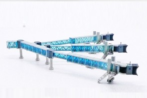 Blue glass Boarding Air Bridge Airbus A380 set with 1 JCWings LH4ARBRDG219 scale 1:400
