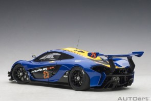 Blue McLaren P1 GTR Metallic with yellow stripes die-cast AUTOart 81542 scale 1:18