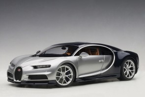 Bugatti Chiron 2017 French Argent Silver/Atlantic Blue AUTOart 70992 scale 1:18