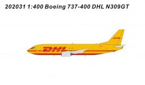 DHL Boeing 737-400 cargo N309GT die-cast Panda models 202031 scale 1:400