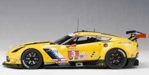 Yellow Corvette C7.R Lime Rock 2016 second place #3 AUTOart 81607 1:18