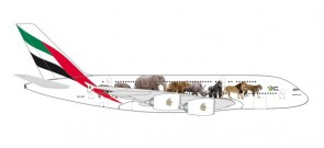 Emirates Airbus A380 United for Wildlife A6-EEI Herpa 531764 scale 1:500
