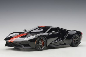 Ford GT 2017, Shadow Black/Orange Stripes AUTOart 72945 scale 1:18