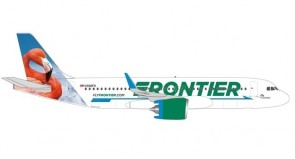 Frontier Airbus A320neo N308FR Flo the Flamingo Herpa Wings 534697 scale 1:500