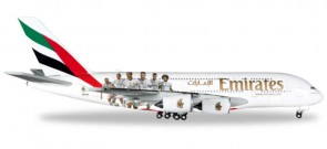Emirates Real Madrid A380 Reg# A6-EOA Herpa 529242 Scale 1:500