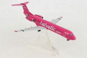 Helvetic Fokker F-100 HB-JVC Helvetic Magenta special livery Herpa 559966 scale 1:200