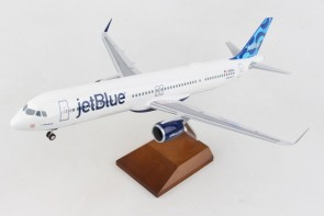 """jetBlue Airbus A321neo N2105J """"A NEO mintality"""" with wood stand &gears Skymarks Supreme SKR8415 scale 1:100"""