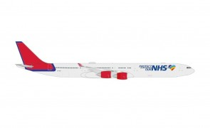 Maleth Airbus A340-600 9H-NHS Protect Our NHS old Virgin colors Herpa 535496 scale 1:500