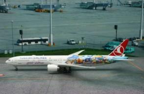 Turkish Airlines B777-200ER San Francisco-Istambul Reg# TC-JJU Eagle 200007 Scale 1:200
