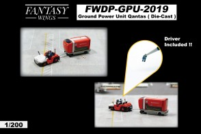Qantas Ground Power Unit set tractor with driver Fantasy Wings FWDP-GPU-2019 scale 1:200