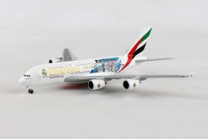 Marcelo, Cristiano Ronaldo, Benzema, Gareth Bale, Real Madrid 2018 Emirates Airbus A380 A6-EUG Herpa 531931 scale 1:500