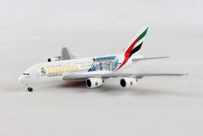Marcelo, Cristiano Ronaldo, Benzema, Gareth Bale, Real Madrid 2018 Emirates Airbus A380 A6-EUG Herpa 531931 scale 1:500