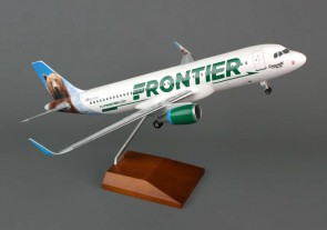 Frontier A320 1/100 W/gear & Wood Stand W/Sharklets Bear Tail SKR8319 Skymarks scale 1:100