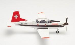 Swissair Pilatus PC-7 Turbo Trainer Air Traffic School HB-HOQ Herpa 580656 scale 1:72