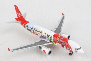 "Thai Air Asia Airbus A320 HS-ABD ""Amazing Tailand"" Herpa 532686 scale 1:500"