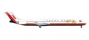 "TWA Trans World MD-83 N984TW ""Spirit of Long Beach"" Herpa 533737 scale 1:500"