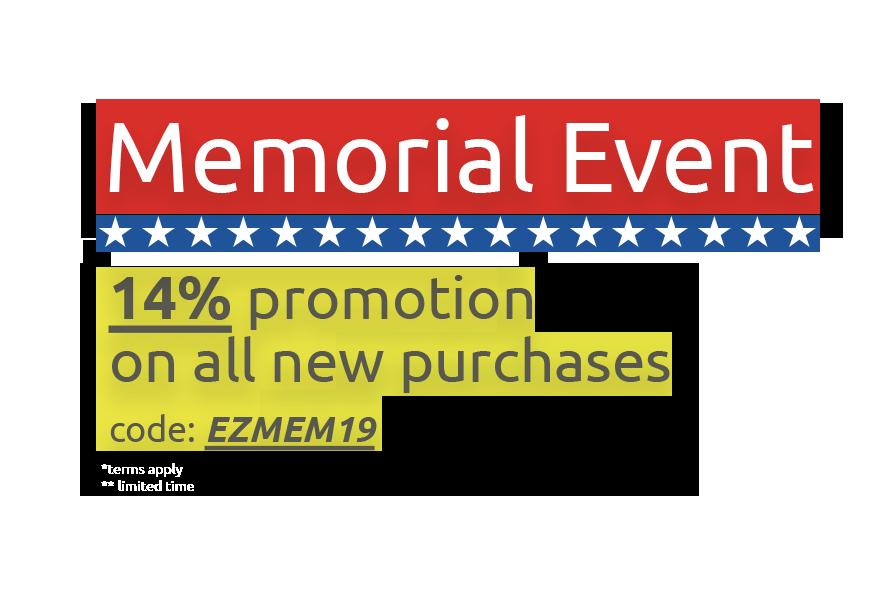 Memorial Weekend Event! 14% Off!